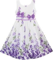 girls dress purple rose flower double bow tie party kids sundress