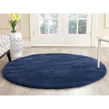 Round Indoor Rugs by Safavieh Milan Shag Navy 10 Ft X 10 Ft Round Area Rug Sg180 7070