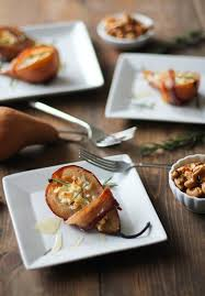 bacon wrapped roasted pears with goat cheese and honey