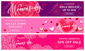 s day shopping women day sale shopping web banner gold glitter templates golden