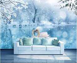 popular snow wall mural buy cheap snow wall mural lots from china custom photo 3d wallpaper non woven mural swan lake ice and snow painting 3d wall