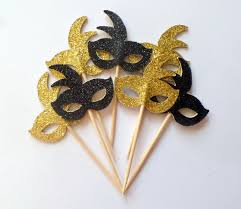 black and gold mardi gras black and gold mardi gras mask cupcake toppers set of 12