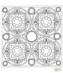 square tibetan mandala coloring page free printable coloring pages