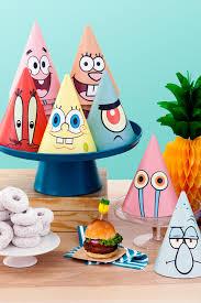 spongebob printable party hats nickelodeon parents