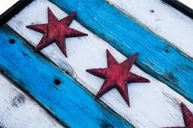 Home Decor Chicago Handmade Distressed Wooden Chicago Flag Vintage Art Distressed