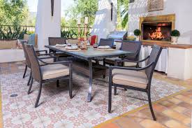 belize 7 pc dining set patio productions belize 7 pc dining set by portica shown with spectrum sand cushions