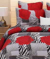 3d Print Bed Sheets Online India Home Candy Red Floral Cotton Double Bed Sheets With 2 Pillows