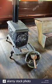 old coal burning stove in one room schoolhouse a scene in the