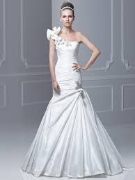 enzoani bridal ruffled one shoulder pleaded blue by enzoani bridal gown