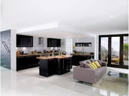cuisine noir laqué plan de travail bois cuisine noir laqué et bois recherche idées maison et déco
