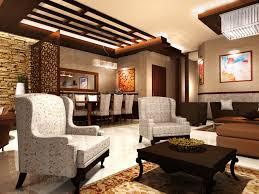 interior design stone wall with contemporary interior living room