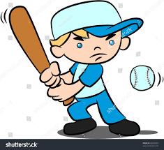 cartoon illustration boy swinging bat trying stock illustration