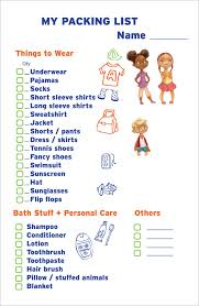 7 packing list templates word excel pdf templates