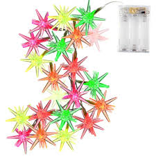 Battery Operated Christmas String Lights by 20 Led Crystal Stars Christmas Lights Multi Color Battery