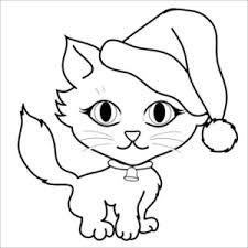 free cat clip art image coloring cute kitten