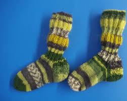 Kids Wool Socks Hand Knit Art Unisex Kids Wool Socks Brown Burgundy Unique