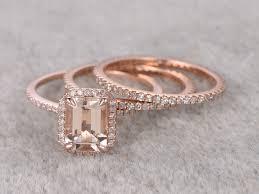 morganite wedding set 1 2 carat emerald cut morganite wedding set eternity diamond
