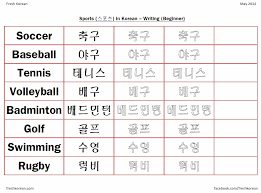 sports in korean worksheet u2013 fresh korean