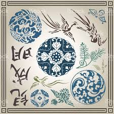and japanese vector ornament set stock vector