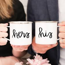 his and mug his hers enamel cfire mug set sweet water decor