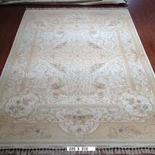 Indian Hand Woven Rugs 7x10ft Hand Knotted Carpet Wool And Silk India Hand Woven Flat
