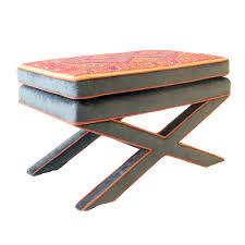 upholstered u201cx u201d bench with indian embroidery katie leede u0026 co