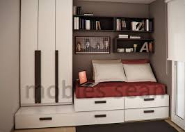 bedroom exquisite brown red white space saving designs for small