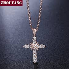 wholesale cross necklace pendants images Zhouyang cross necklace rose gold color pendant necklace cz jpg