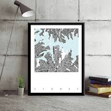 map print of sydney limited edition by bronagh kennedy art map print of sydney limited edition