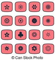 vector clipart of vector illustration set of simple flower icons