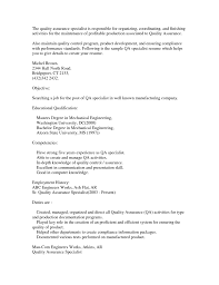 Resume Sample Quality Control by Quality Assurance Specialist Resume Sample Free Resume Example