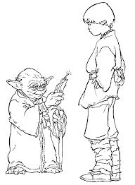 Coloriage Maitre Yoda et Anakin Skywalker à imprimer