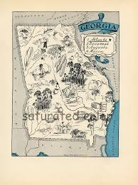 Georgia Map Usa Georgia Map 1931 Original Vintage Picture Map Antique Charming