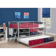 bedroom black metal walmart loft bed with cozy mattress for