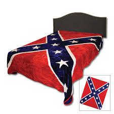 Rebel Flag Gear Confederate Rebel Flag Faux Fur Blanket Queen Size Chkadels