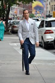 grey blazer blue pants baggage clothing