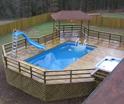 Backyard Above Ground Pool by Swiming Pools Above Ground Pool Deck Design With Pool Spa Also
