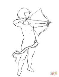 cupid with bow and arrow coloring page free printable coloring pages