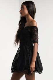 akira lace off shoulder skater dress in black burgundy