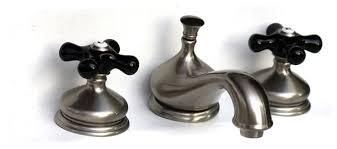widespread bath faucet black porcelain cross handle satin nickel
