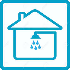 blue symbol of bathroom with shower in house royalty free cliparts