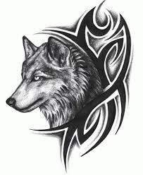 cool black tribal and wolf head tattoo design