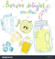 cocktail recipe cards recipe illustration smoothie cocktail apples yogurt stock vector