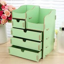 diy wooden desk organiser make up cosmetics storage box drawer