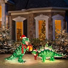 Lighted Christmas Outdoor Decorations by Our Pre Lit Animated Dinosaur Christmas Yard Decorations Are Worth