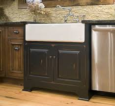 Sink Cabinets For Kitchen A White Farmhouse Sink With Black Sink Base Cabinet And Polished