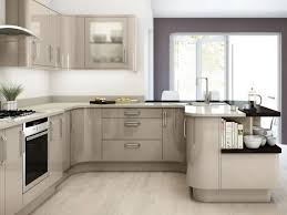 Kitchen Cabinets With Frosted Glass Doors Endearing Brown Color Plywood L Shape Kitchen Cabinets Features
