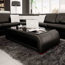 modern black end table modern black bonded leather coffee table with glass top contemporary