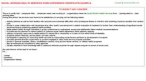 social worker health services work experience certificate