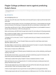 support ran bureau flagler professor warns against predicting cuba s future